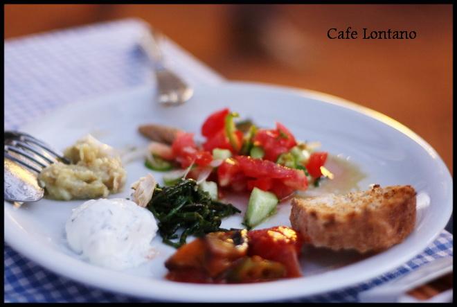 Kalpazankaya restaurantta mezelerden oluşan bir tabak