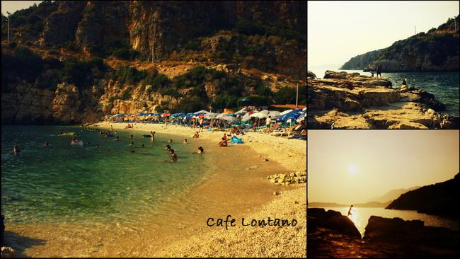 Kaş sahillerinde dağ,deniz,güneş,çakıl kompozisyonu içinde ...